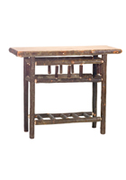 Hickory Sofa Table with Open Log Shelf