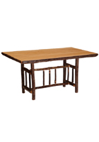 Hickory Rectangular Log Dining Table Counter Height
