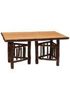 Hickory Rectangular Extension Log Dining Table