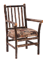 Hickory Upholstered Spoke Back Arm Chair