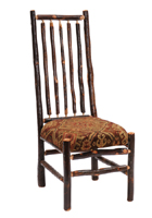 Hickory High Back Spoke Side Chair with Upholstered Seat