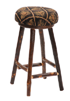 Hickory Barstool with Fabric Seat
