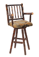 Hickory Swivel Barstool with Arms