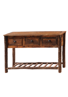 Barnwood Console Table with Hickory Legs