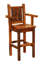 Barnwood Artisan Barstool with Arms