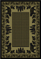 Bear Family - Green Area Rug