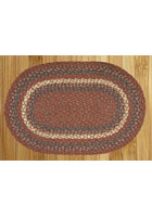 Burgundy and Gray Braided Rug