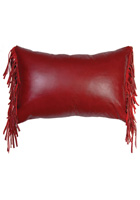 Dark Red Leather Pillow with Finge