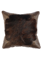 Brindle Hair On Hide and Mesa Leather Pillow