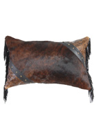 Dark Brindle Hair On Hide Leather Pillow
