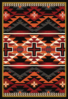 Rustic Cross Area Rug - Black