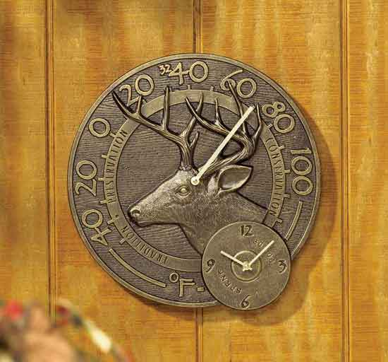 Whitetail Thermometer Clock